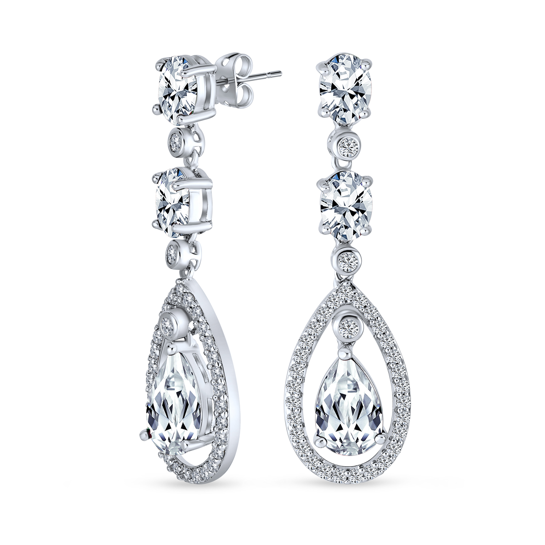 Cubic Zirconia Bridal Earrings CZ Branch And Cushion Cut Bridal Earrings Simulated Diamond Bridal Earrings Art Nouveau