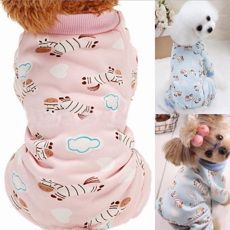 Cute Dog Clothes Fashion 4-leg Cotton Cartoon Printed Pet Teddy Jumpsuit Pajamas