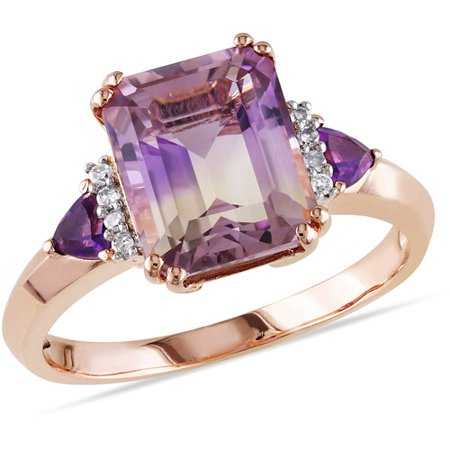 3-1/2 Carat T.G.W. Ametrine and Amethyst with Diamond-Accent Rose Rhodium-Plated Sterling Silver Three-Stone Cocktail Ring