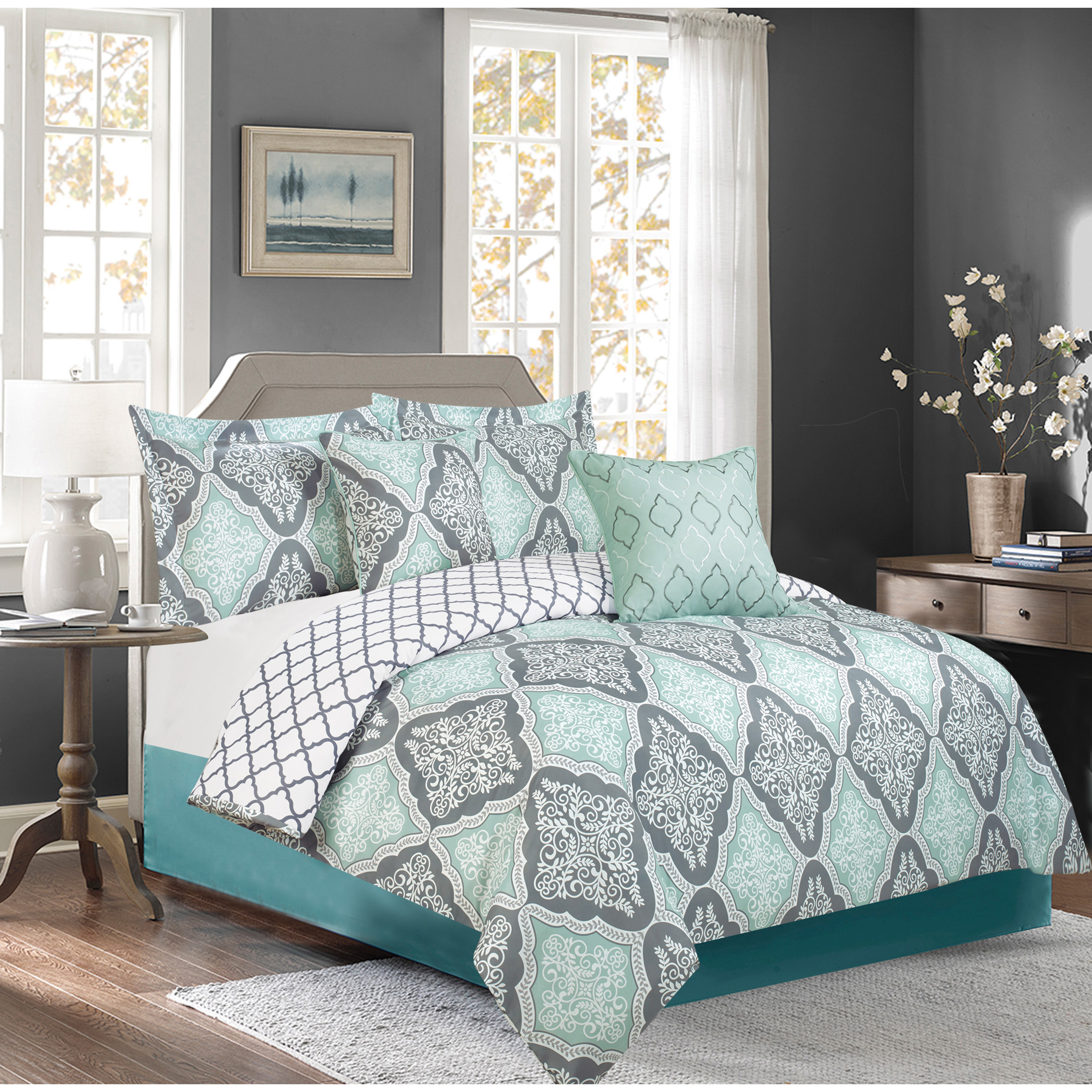 katia -5 piece printed revsrsible  comforter set