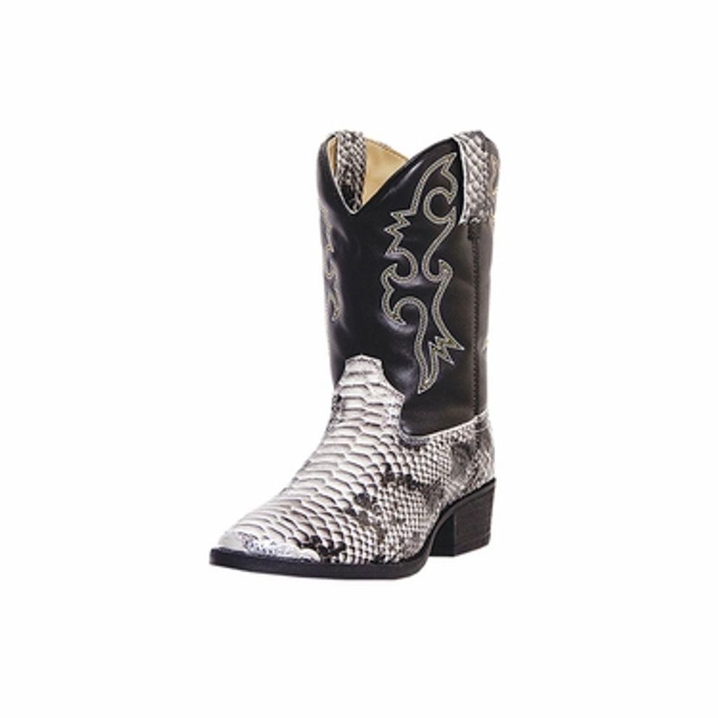 Laredo Western Boots Boys Faux Snake Pit Round Toe Black White LC2103 by Laredo