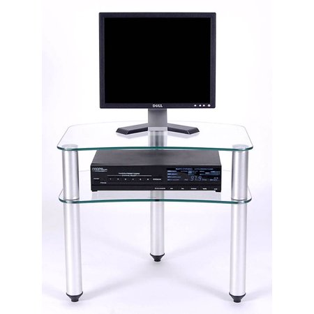 Tripod 2 Glass Shelf Flat Screen Stand w Accessory Shelf (Without