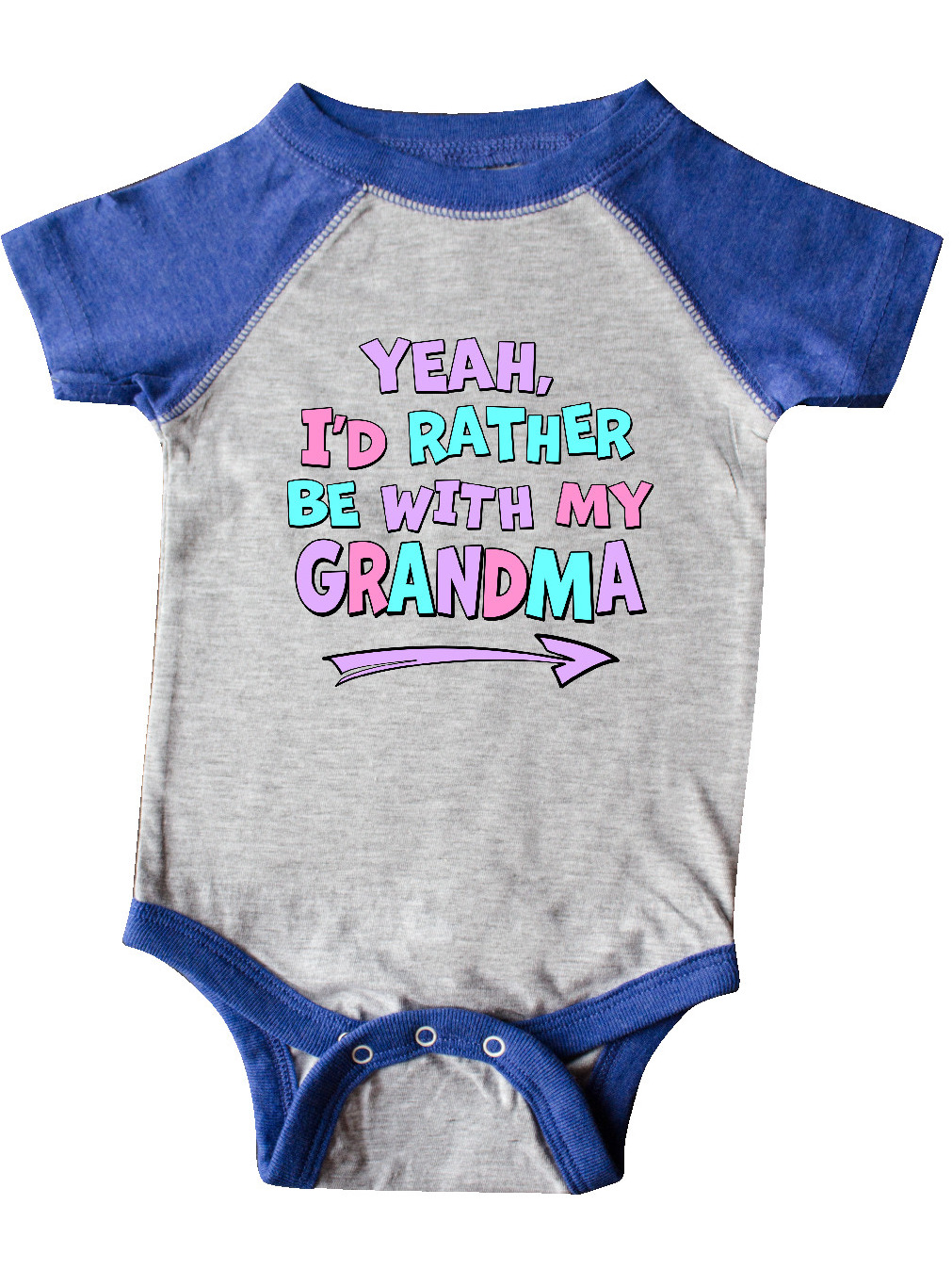 Purple Baby T-Shirt Id Rather Be with My Gramma- Pink Blue inktastic Yeah