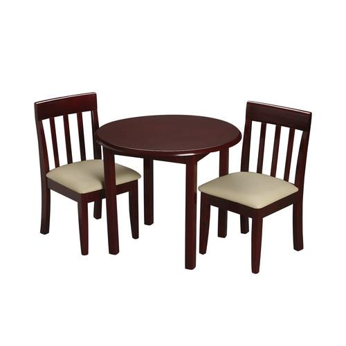 Children's Round Table with 2 matching Upholstered chairs-Finish:Cherry