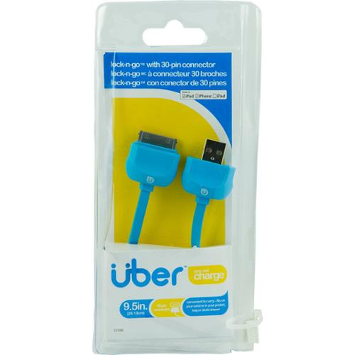 "Uber 13166 Lock & Go Bracelet-style 30-pin Charge & Sync Cable, 7"" [blue]"