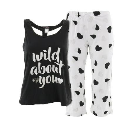 - Grumpy and Gorgeous Juniors Wild About You Black Capri Pajamas L