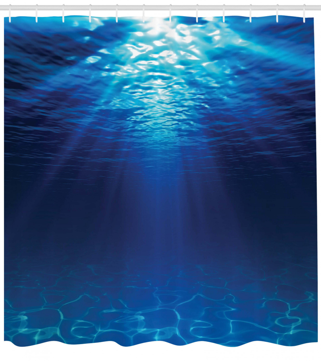 Ocean Shower Curtain, Underwater View With Sandy Seabed