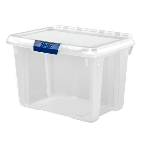 Hefty 20-Quart PROTECT Heavy Duty Storage and Lid with Protective Seal, Clear