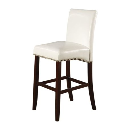 Benzara Wooden Counter Height Chair with Leatherette Upholstery, Set of 2, White and