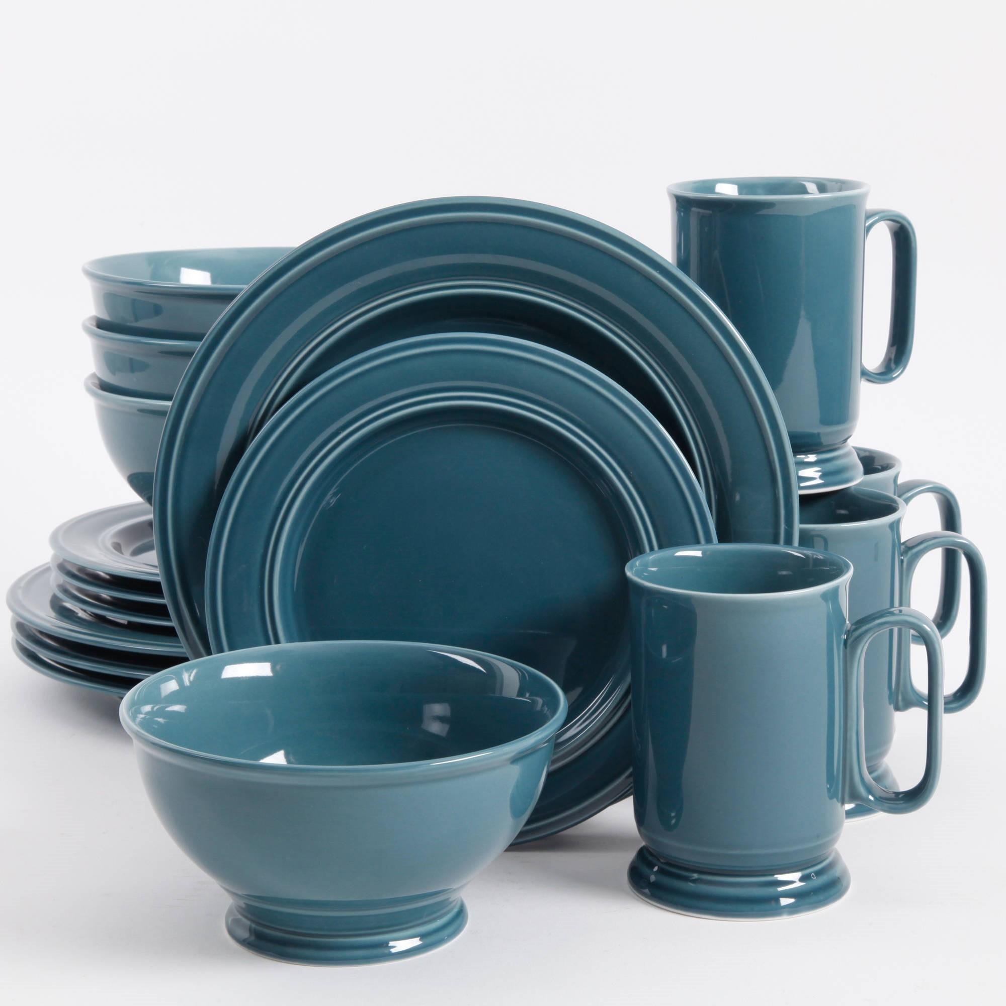 Better Homes & Gardens Admiraware Round Dinnerware, Aqua, Set Of 16