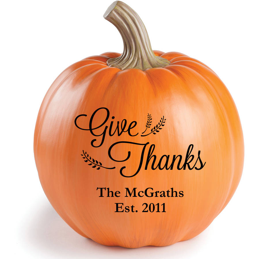 Personalized Give Thanks Pumpkin, Large