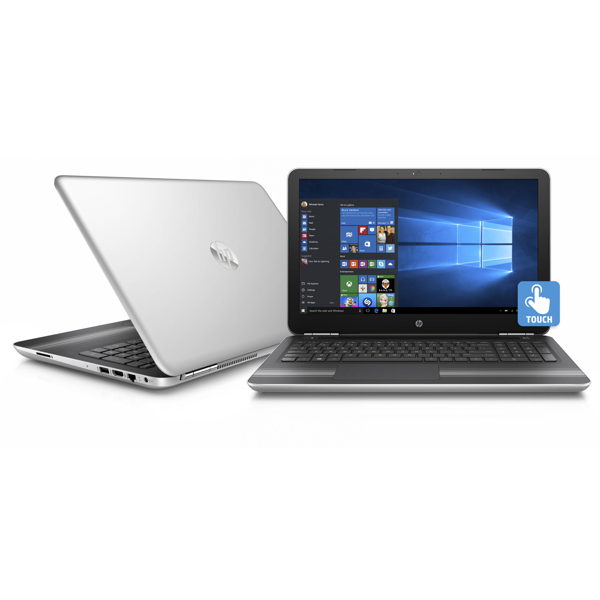 "HP Pavilion 15-au018wm 15.6"" Liquid Platinum Gaming Laptop, Touch Screen, Windows 10, Intel Core i7-6500U Processor, NVIDIAᅡᆴ GeForce 940MX Graphics, 12GB Memory, 1TB Hard Drive"