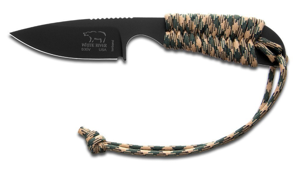 White River Knife & Tool Backpacker Hunting Knife Camo Paracord Handle Black Ionbond Blade Coating... by White River Knife & Tool