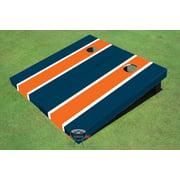 Orange and Navy Matching Long Stripe Cornhole Boards