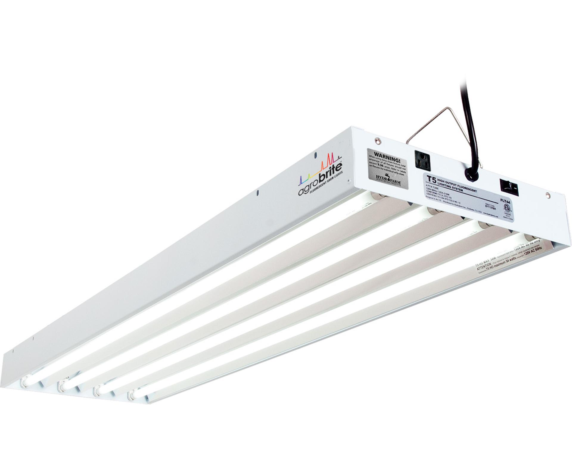 Agrobrite T5 216W 4u0027 4 Tube Grow Light Fixture W/ Fluorescent Lamps |