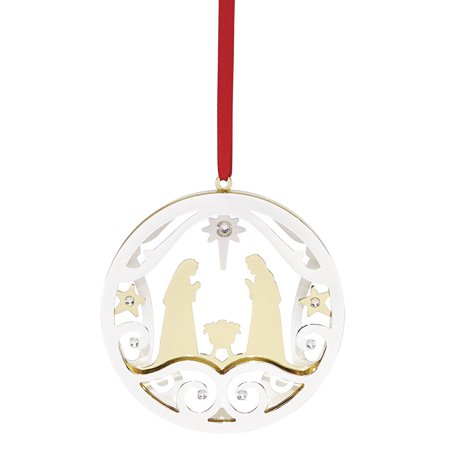 Lenox Stamped Nativity Scene Metal Christmas Tree Ornament 870955 Decoration New](Lighted Nativity Scene Yard Decoration)