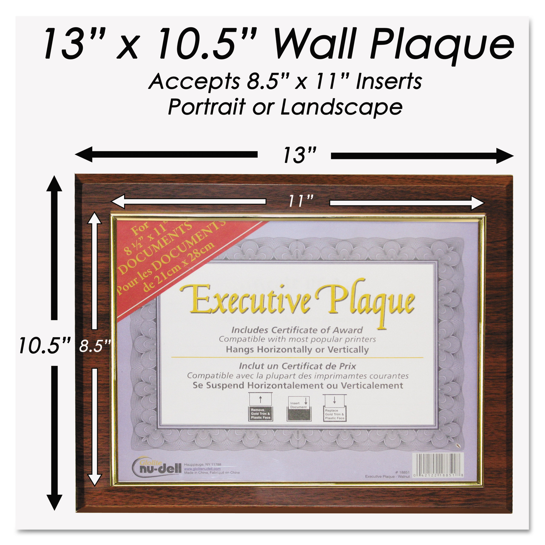 Insertable Plaque Walnut Sold as 1 Each 8 1//2 x 11
