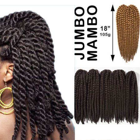 S-noilite Twist Crochet Hair 18 inch For Women Small Havana Mambo Twist Crochet Hair Braiding 12 strands/pack Synthetic Hair Extensions Dark (Type Of Hair Used For Havana Twists)