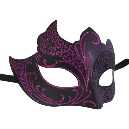 Purple Black Venetian Mask Masquerade Mardi Gras - Mardi Gras Mask On A Stick