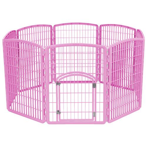 IRIS 34'' Exercise 8-Panel Pet Playpen with Door, Pink