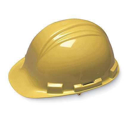 NORTH BY HONEYWELL A79020000 Hard Hat, FrtBrim, Slotted, 4PinLk, Yellow