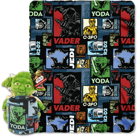 Lucasfilm Star Wars, Yoda Story Hugger Character Shaped Pillow and 40x 50 Fleece Throw Set](Star Wars Room Decor)