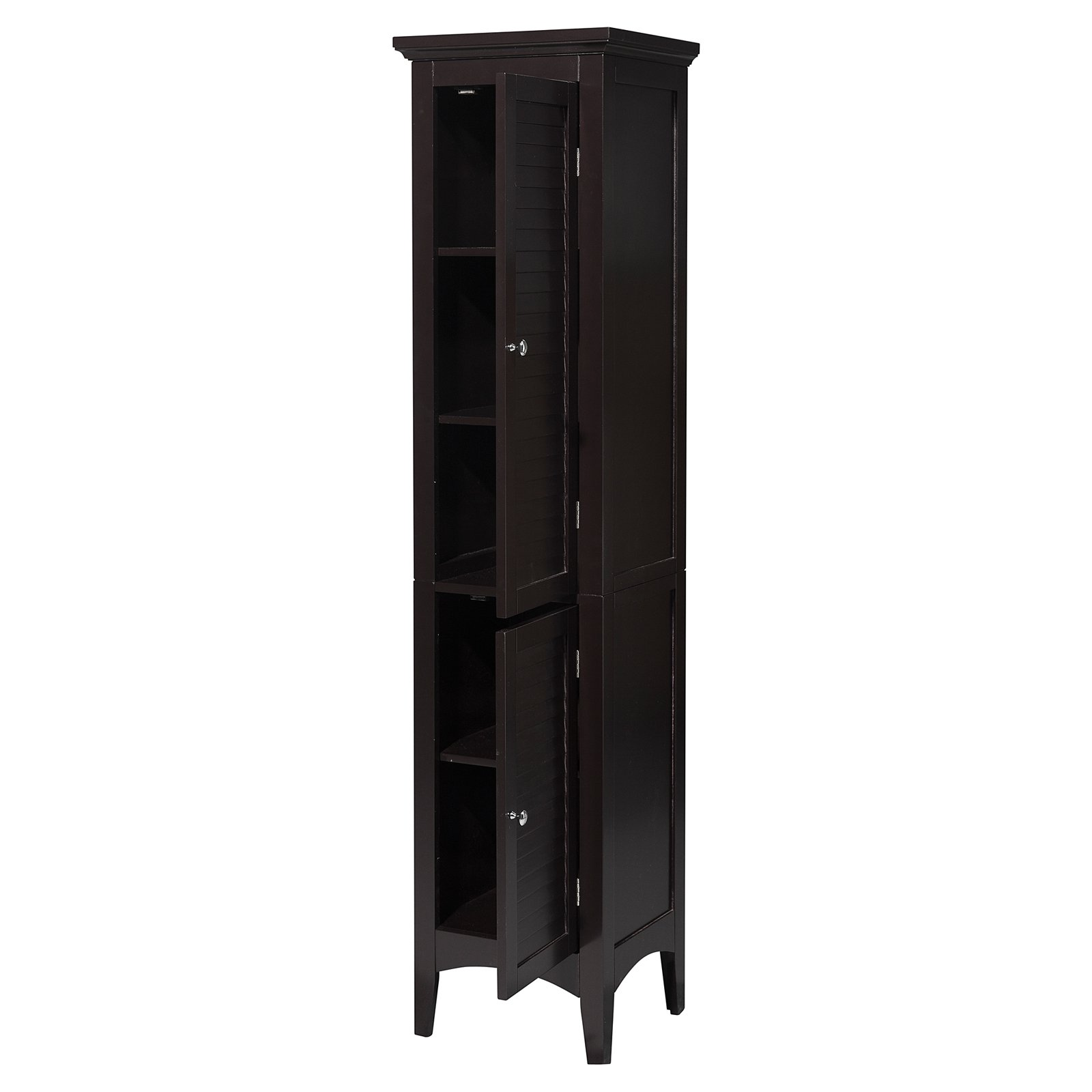 Elegant Home Fashions Sicily Linen Tower With 2 Shutter Doors Dark Espresso