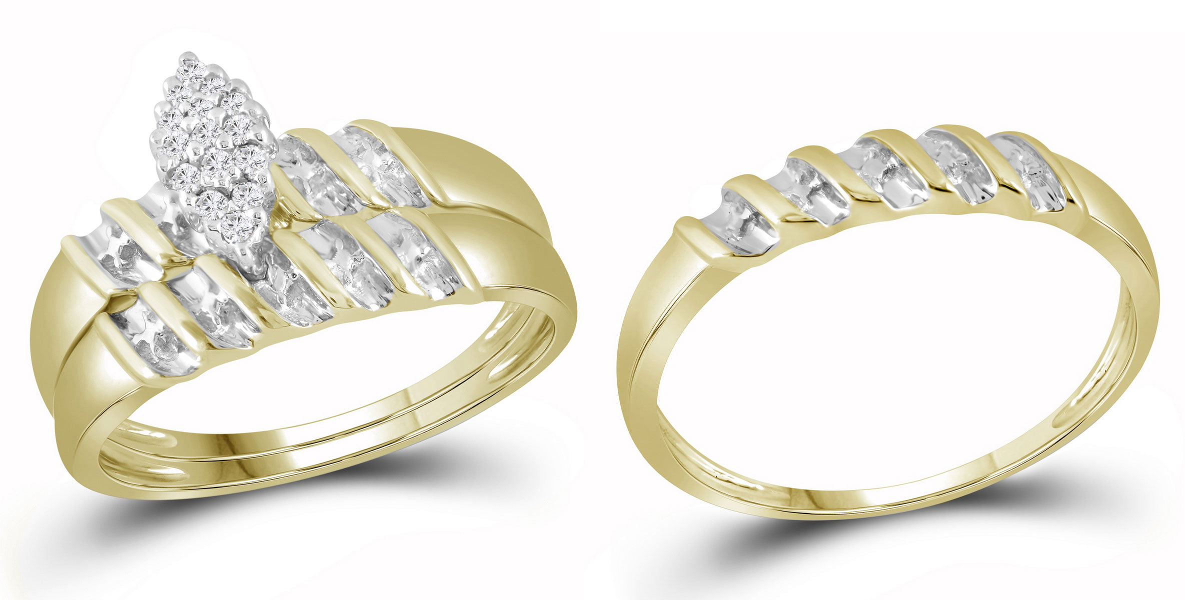 10k Yellow Gold Natural Diamond Marquise-shape Cluster Bridal Wedding Trio Mens Womens Ring Band Set size- 9.5 by
