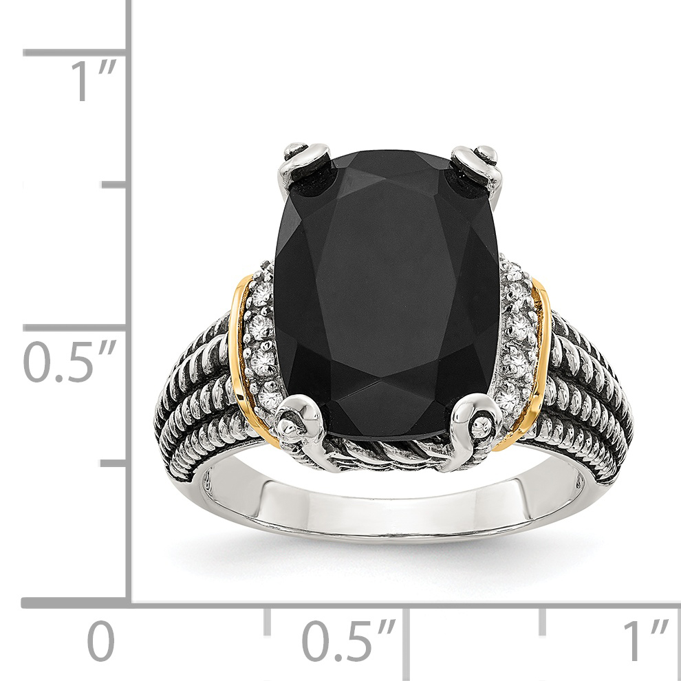 Sterling Silver with 14k Black Onyx and Diamond Ring