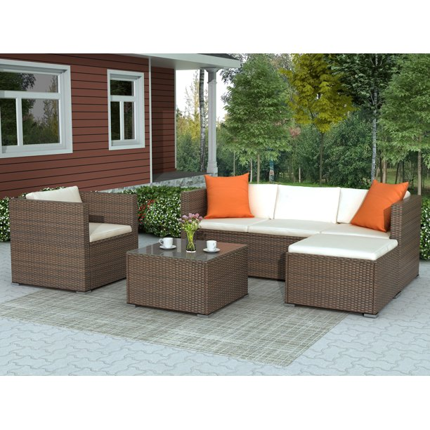 4Piece Outdoor Sectional Furniture Set, BTMWAY Rattan-Style Sectional Patio Conversation Furniture Couch Set for Outdoor, Patio Sofa Bistro Chairs Set for Outdoor Porch Gazebo Lawn, R283