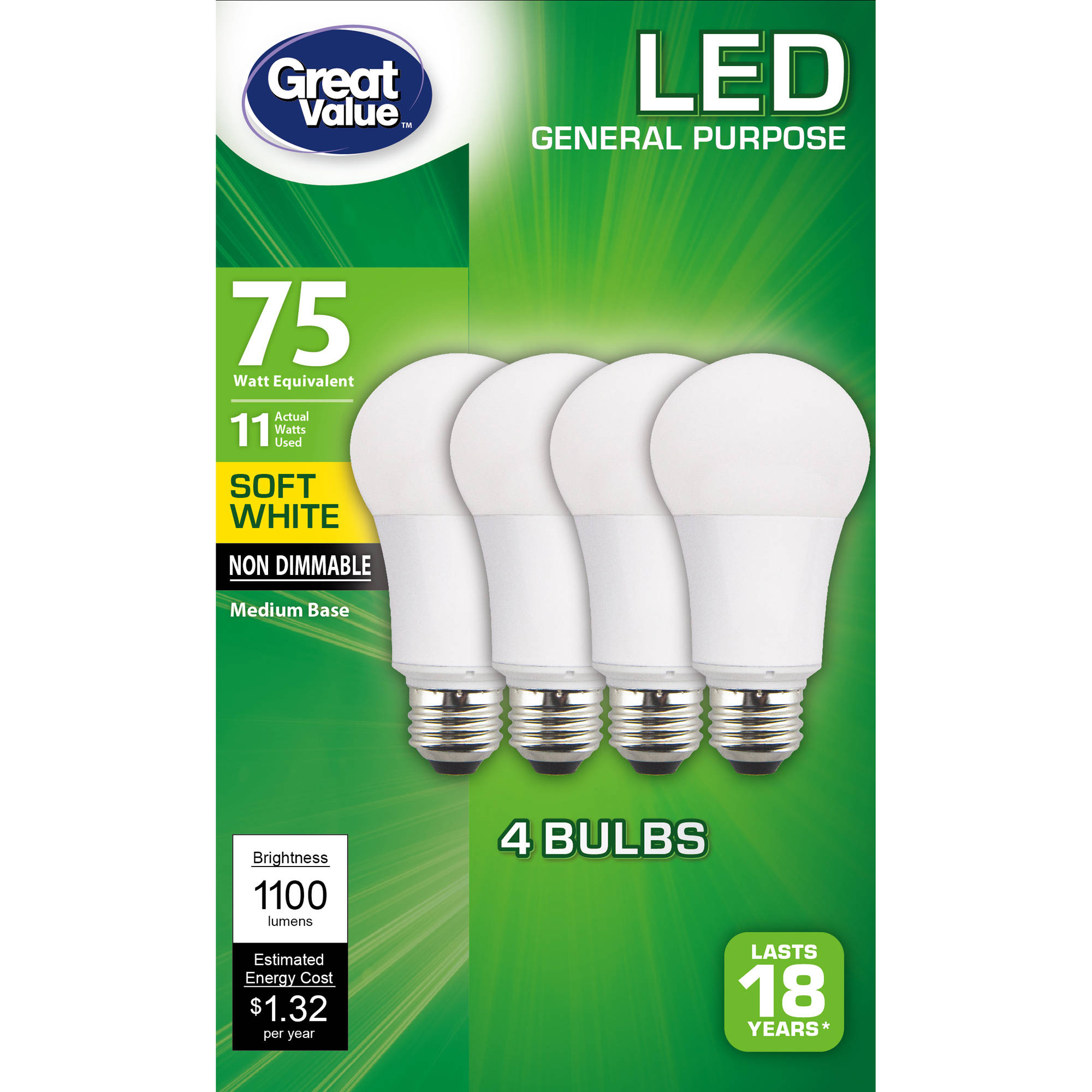 Great Value LED A19 (E26) Light Bulbs, 11W (75W Equivalent), Soft White, 4-Pack