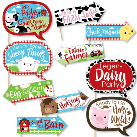 Animal Themed Baby Shower Ideas (Funny Farm Animals - Baby Shower or Birthday Party Photo Booth Props Kit - 10)