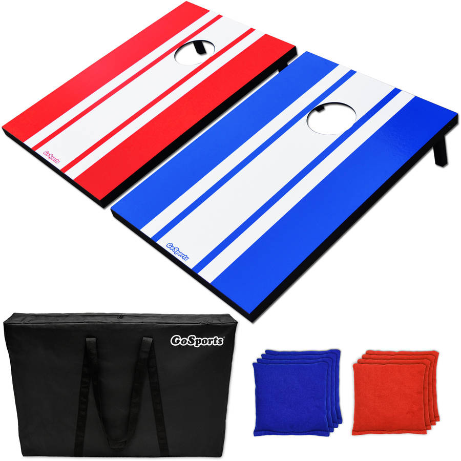 GoSports Foldable Classic Cornhole Boards Set Includes 8 Bean Bags, Portable Carry Case and Rules, 3' x 2' Tailgate Size