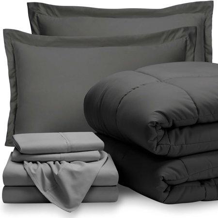 7-Piece Bed-In-A-Bag - Queen (Comforter Set: Grey, Sheet Set: Light Grey)