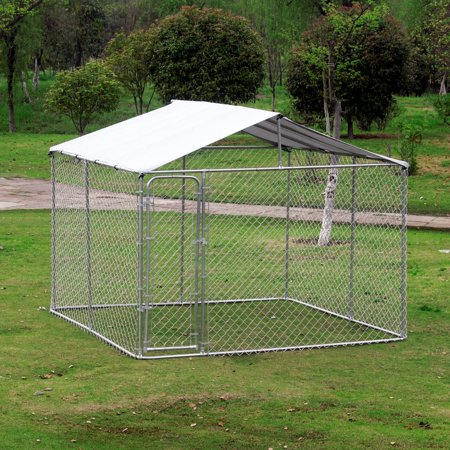 """116"""" x 116"""" Outdoor Square 12-Gauge Chain Link Dog Kennel With Shelter"""