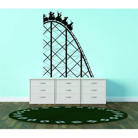 Vinyl Wall Decal Sticker   Roller Coaster Amusement Park Ride Kids Bedroom Bathroom Living Room Picture Art 16X20 Inches