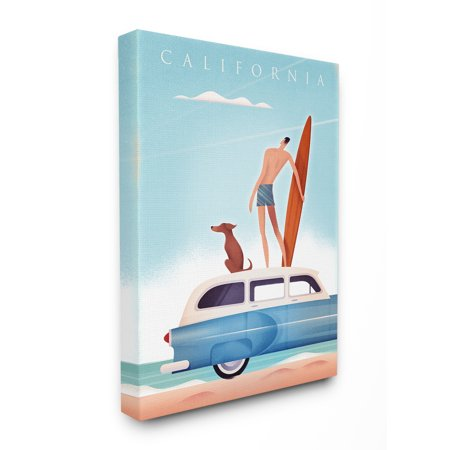Car Canvas Art (Stupell California Surfer and Dog on Their Car Canvas Art)