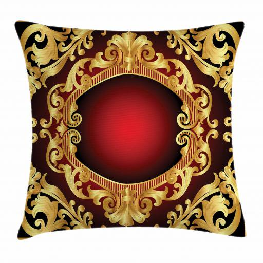 Yellow Damask Throw Pillow Cushion Cover Graphic Image Baroque Inspired Curvy Frame Background Decorative Square Accent Pillow Case 20 X 20 Inches Earth Yellow Burgundy And Black By Ambesonne Walmart Com Walmart Com