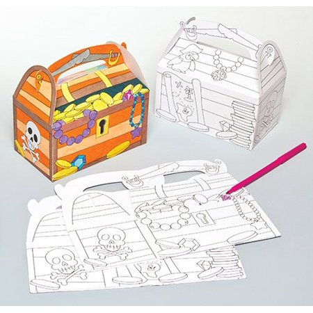 Treasure Chest Colour In Card Gift Boxes For Children To Assemble Paint And Personalize  Pack Of 6   Ideal For Storing Loot Or For Giving Gifts  By Baker Ross Ship From Us