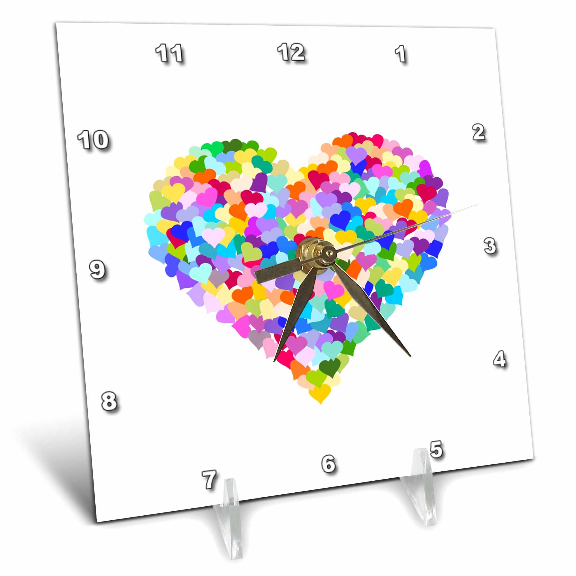 3dRose Rainbow love heart of hearts made of colorful romantic confetti cute multicolor valentines day, Desk Clock, 6 by... by 3dRose