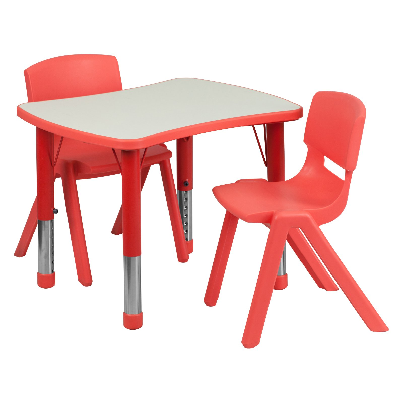 Flash Furniture 21.875''W x 26.625''L Adjustable Rectangular Plastic Activity Table Set in Multiple Colors with 2 School Stack Chairs, Grey