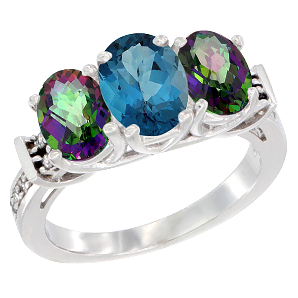 10K White Gold Natural London Blue Topaz & Mystic Topaz Sides Ring 3-Stone Oval Diamond Accent, sizes 5 10 by WorldJewels