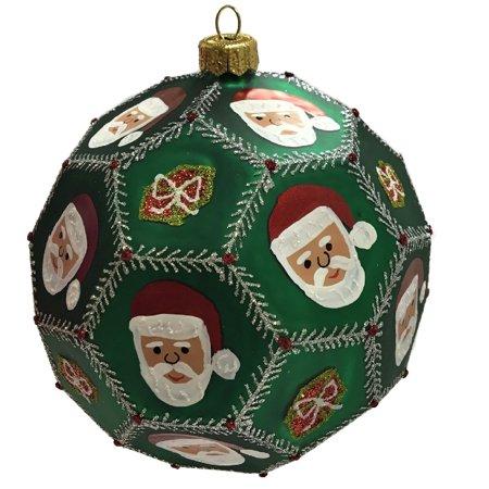 Large Green Santa Claus Face Polyhedron Ball Polish Glass Christmas Ornament