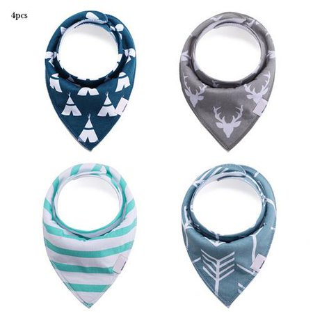 4Pcs/Set Pure Cotton Baby Waterproof Double-layer Triangle Towel