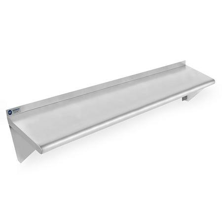 (Gridmann NSF Stainless Steel Kitchen Wall Mount Shelf Commercial Restaurant Bar w/ Backsplash - 12