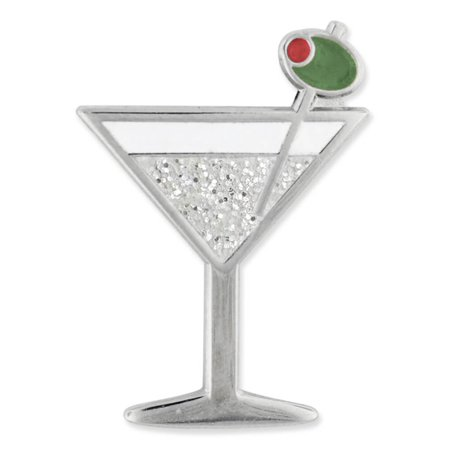 PinMart's Martini w/ Olive Fun Food Celebration Glitter Enamel Lapel - Glitter Shamrock Pin