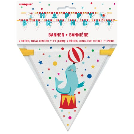 Circus Carnival Happy Birthday Banner, 11 ft, 2pc - Circus Door Decorations