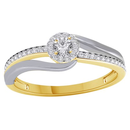 White Natural Diamond Frame Bypass Engagement Ring in Two Tone 14k ...
