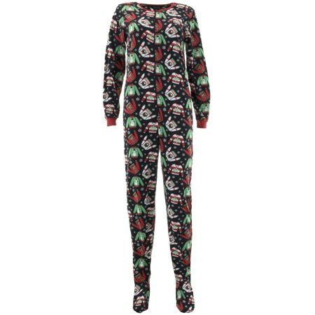 Rene Rofe Women's Ugly Sweater Black Footed Pajamas