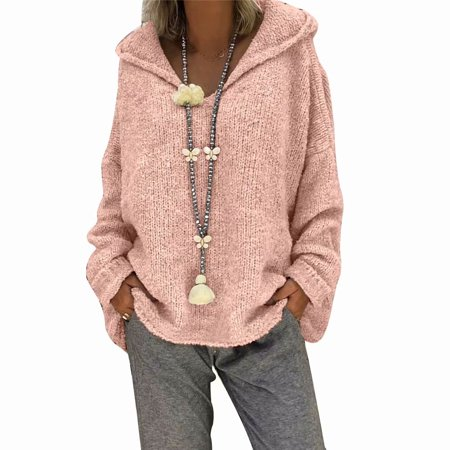 Akoyovwerve Winter Women Hooded Knit Sweater V-neck Tops Long Sleeve Warm Casual Loose Pullovers Jumpers, Pink